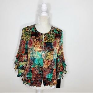 PINGS IMPORTS bright floral accordion pleated top
